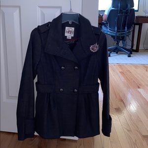 Dark gray double breasted winter pea coat
